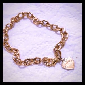 Authentic Coach Script Heart Charm Chain Bracelet